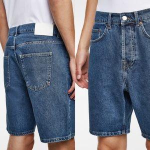 Zara Man Denim Bermuda Shorts Loose-Fitting Blue